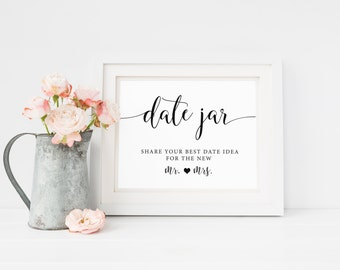 Date Jar Sign, Date Night Sign, Date Night Ideas, Wedding Date Sign, Wedding Day Sign, Date Night Cards, Date Night Jar Sign, Printable DIY