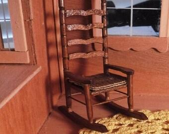 Miniature Rocker, Ladder Back Rocking Chair, Ladder Back Rocker Chair, Vintage Dollhouse Miniature Wood Rocker Rocking Chair, 1:12 Scale