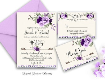 Floral Wedding Invitation Purple Boho Wedding Invitations Suite Romantic Wedding Spring Invitation Purple Roses Wedding Invitation