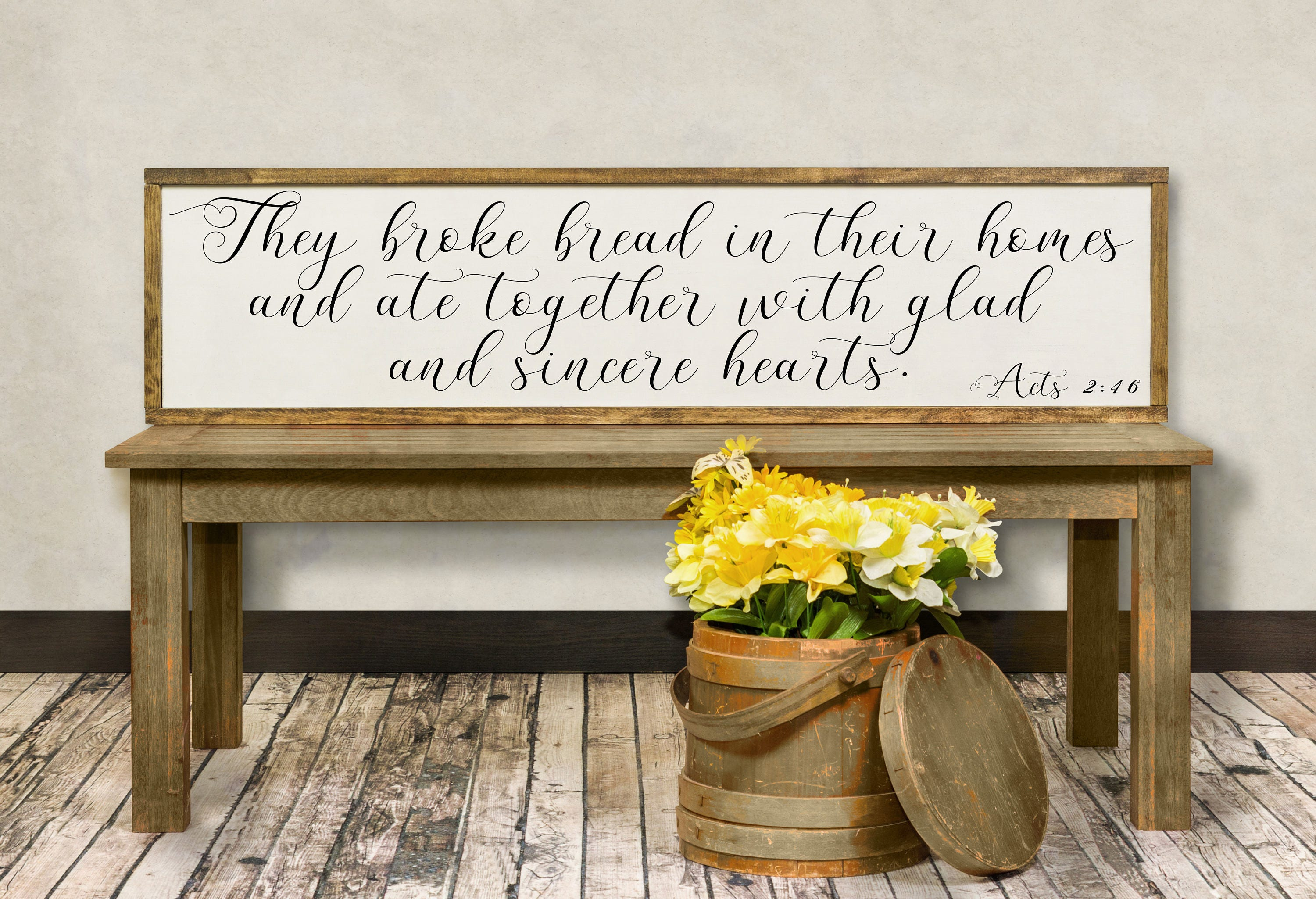 Dining Room And Art On They Broke Bread In Their Homes Ate Together Wood Sign Acts 246