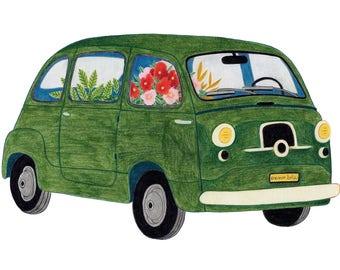 A4 print - Floral retro Combi
