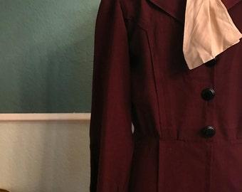 1930s Burgundy Dress With Cream NeckTie M