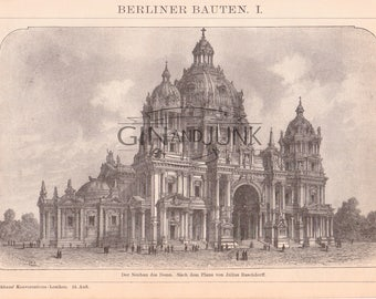 Antique Germany Lithograph - Antique Berlin Architecture Print from 1890, European Design, Architectural Plate, Blueprint, Lithograph.