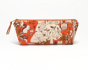 Cute pencil case, Forest animals, Pencil pouch, School supplies, Pencil case, Woodland creatures, Student gift, Cute desk accessory