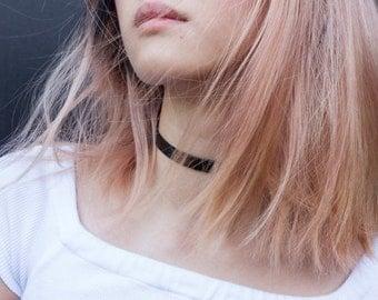 Latex Choker Necklace, Faux, Black, Thin, Glossy, Cruelty-Free, Vegan