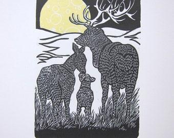 Deer linoprint full moon yellow