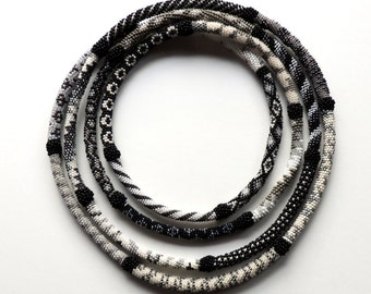 XXL Black and white beaded crochet necklace.