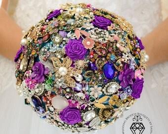 Wedding Jewelry Brooch Bouquet Bridal Purple Broach Fantasy Peacock Bridesmaid
