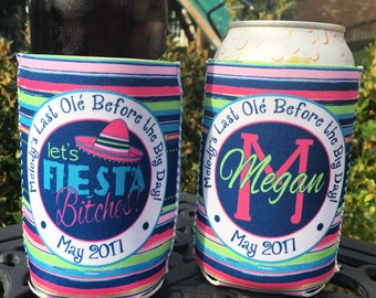 Custom Bachelorette Wedding Party insulated can / bottle coolers - Personalized - Let's Fiesta Bitches! Vacation / Mexixo / Cancun / Cabo