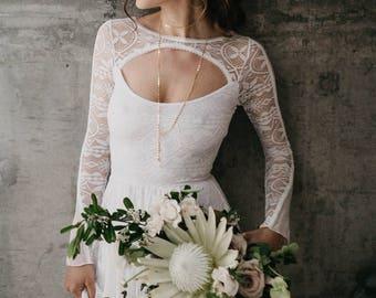Boho Wedding Dress, Long Sleeve Wedding Dress, Geometric Wedding Dress, Unique Wedding Dress, Romantic Wedding Dress - Rio Dress