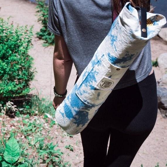 Yoga Mat Bag. Hand Dyed Cotton. Yoga Bag With Pocket. Gift For