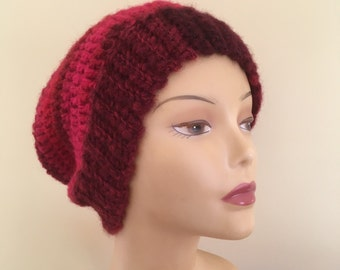 Slouchy Burgundy and Pink Hat