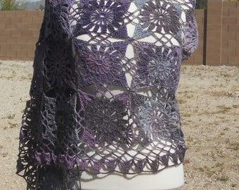 Purple Variegated Wool Motif-based Rectangular Crocheted Wrap