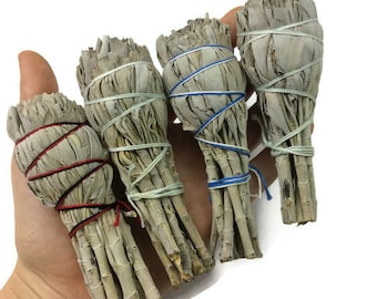 """Mini Sage Smudge Stick- White Sage Incense- 3""""-4"""" Small Sage Stick- Energy Cleansing Herb"""