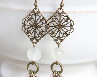 White and Pink Bronze Earrings - Dangle Earrings, Everyday Earrings, Pink Earrings, White Earrings, Bronze Jewelry, Boho Earrings, Boho