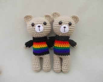 Rainbow Teddy Bears Rainbow Gift Gay wedding gift rainbow cause awareness gay pride awareness Valentine's Bear Valentine's Day Gay Gift