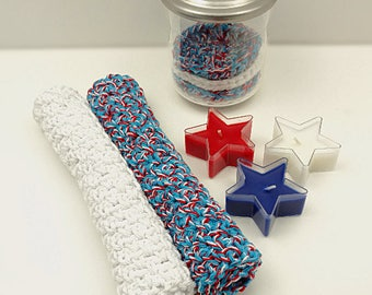 Red, White, and Blue Crochet Washcloth, Dishcloth Set of 2    [089]