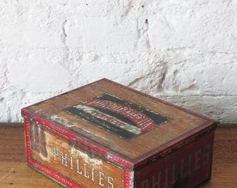 Vintage Philadelphia Bayuk Perfecto Metal Cigar Box Tin Storage Container