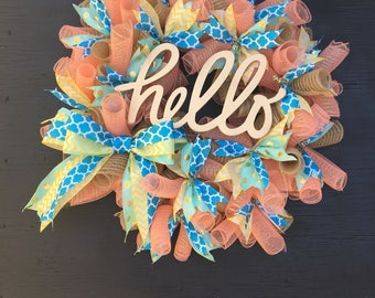 Wreath sale! summer wreath, summer front door wreath, welcome wreath, hello wreath, fun summer wreath, summer door decor, summer door wreath