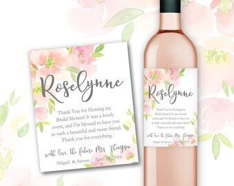 Hostess Thank You Gift Wine Bottle Labels Bridal Shower Baby Shower Custom Thank You Gift Wedding Thank You Gift Bridesmaid Mom Mother #HTY1
