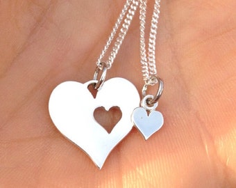 Heart Mother Daughter Necklace Set 925 Sterling Silver Pendant Sisters Best Friends Love Hearts Valentines Jewelry Jewellery UK *1398