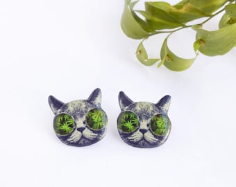 Weed Cat studs , Weed earrings , Cat earrings , Kitty studs , Cat with glasses studs , Hippie cat studs , Kitty earrings , Weed jewelry