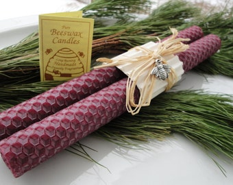 """Hand Rolled Honeycomb Beeswax Taper Candles 8"""" Pair - Burgundy, Beeswax Candles, Tapers, Burgundy Candles , Gifts under 20, Rustic Decor"""