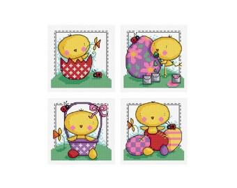 Easter Chick - Set of 4 - Durene J Cross Stitch Patterns