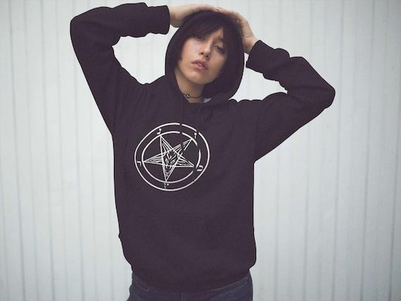 Hooded sweatshirt Harm None Neo-Pagan Pentacle Sacred Geometry Printed hoodie jumper q0nJsEIwdf