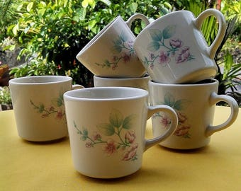 Corning Coffee Mugs Alpine Blossom Pattern Set of Six (6), Vintage Floral Corelle Cups, Discontinued Corning Corelle Pattern