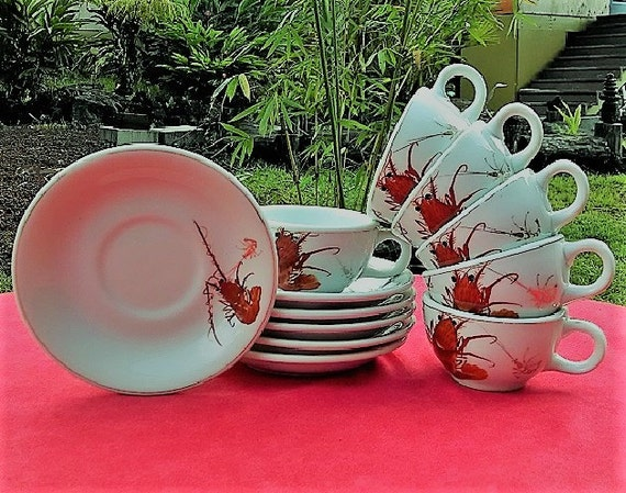 Vintage Coffee Cups and Saucers Set of Six(6) Made in Japan Y.Y Shrimp/Prawn Design,Yonemoto Store Honolulu Hawaii, Collectible Cups/Saucers
