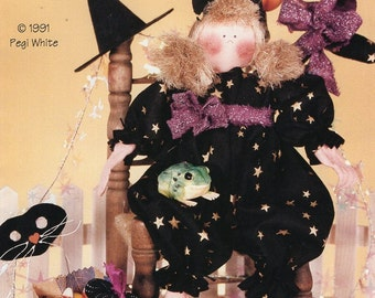 "Finders Keepers Fraidy Cats 12"" Beanbag Doll &Kitty Halloween Witch Black Cat Whimsical Unused 1991 Craft Sewing Pattern Pegi White"