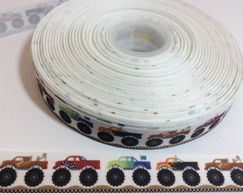 Monster truck grosgrain Ribbons, automobile Ribbon, 7/8  inch Grosgrain ribbon, perfect for hairbows, scrapbooking