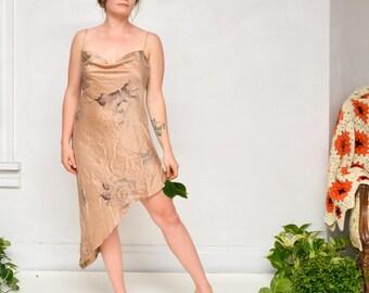 Dusty gold 100% silk asymmetrical slip dress 90s Victoria's Secret