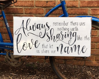 Always remember, love quote, share our name, avett brothers lyric, song lyric, wooden sign, wedding sign, photo prop, anniversary sign, gift