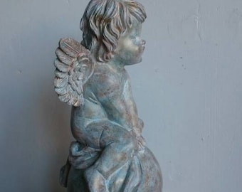 Small Distressed Cherub Statue, Small Angel Figurine, Shabby Cottage Décor