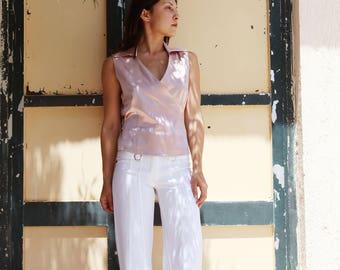 Vintage soft pink lilac satin wrap top,shirt.size m