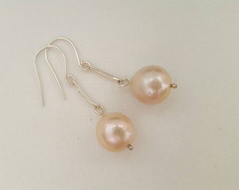 Rustic pale pink pearl drop earrings