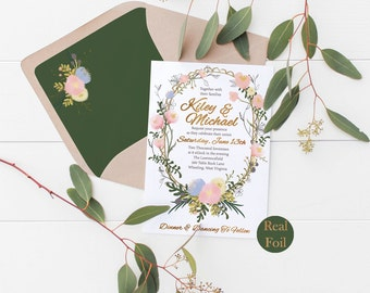 Real Foil Flower Floral Wedding Invitation Suite Deposit