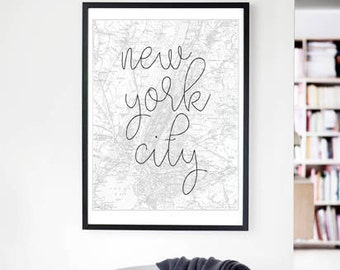 New York City Wall Art new york city map black and white art new york city