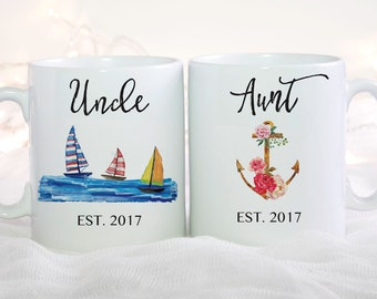 Baby Announcement, Aunt mug, Uncle Mug, Pregnancy Announcement Aunt, Baby Reveal Uncle, Aunt Mug, Uncle Mug, Coffee Mug Set, 2 Mugs