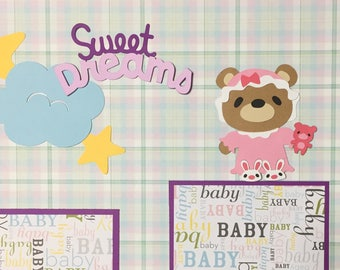 Baby Girl hand made scrapbook page embellishment die cuts