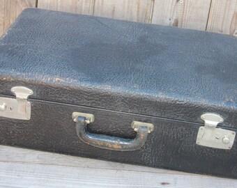 American Black Top Grain Cowhide  vintage retro leather suitcase 1930's 1940's luggage