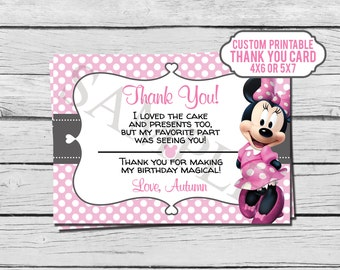 Pink Minnie Mouse Birthday Thank You Card - Custom - Digital File