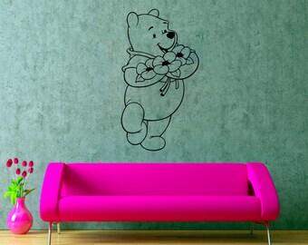 Pooh Bear Wall Decal Winnie Pooh Sticker Nursery Wall Decor Cartoons Art Decorations (16weph)