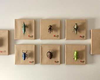 collection of 8 origami insects
