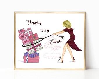 Shopping is my Cardio - Fashion Illustration (Print) - Pink - Blonde