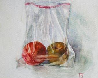 "Original watercolor painting, 'Sweet Couple""."
