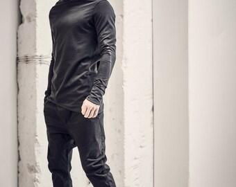 Black Mens Top / Kinetic Black Blouse / Urban Mens Clothing / Bonded Shirt / Asymmetric Mens Clothes by POWHA