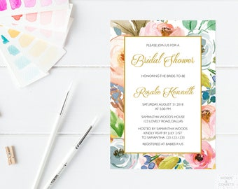 Wedding Shower Invitation, Bridal Shower Invitation Instant Download, Floral Bridal Shower Invitation, Printable, Downloadable, Watercolor